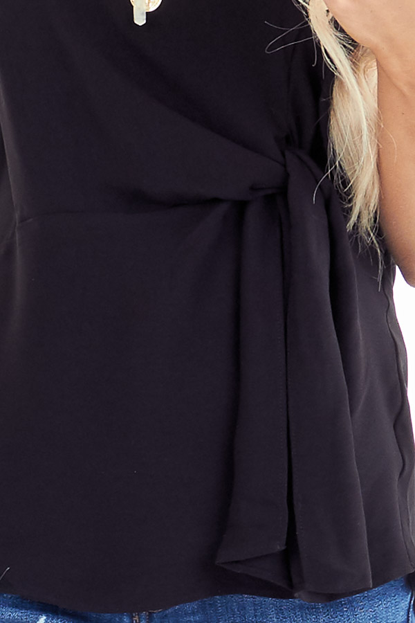 Ink Black Strapless Tube Top with Front Twist Detail detail
