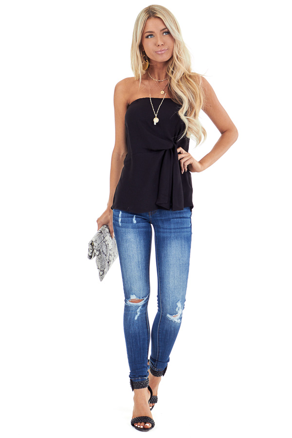 Ink Black Strapless Tube Top with Front Twist Detail front full body