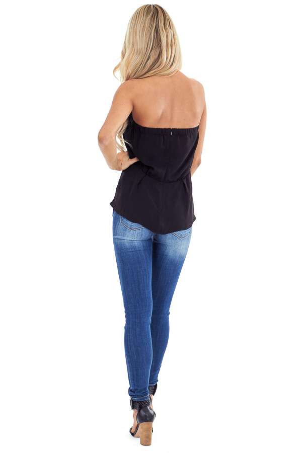 Ink Black Strapless Tube Top with Front Twist Detail back full body