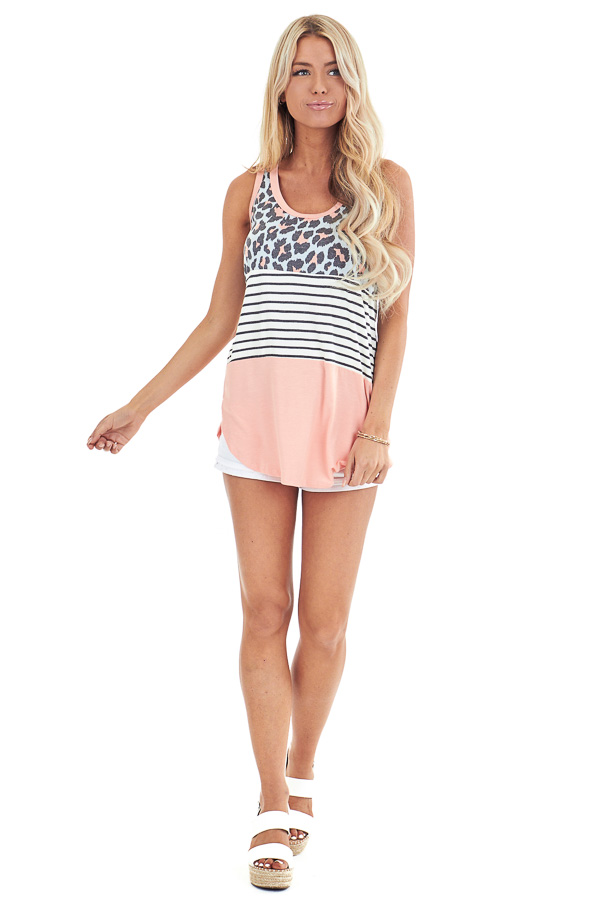 Coral Leopard Print and Striped Color Block Tank Top front full body