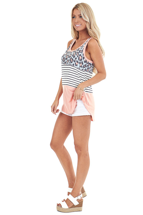 Coral Leopard Print and Striped Color Block Tank Top side full body