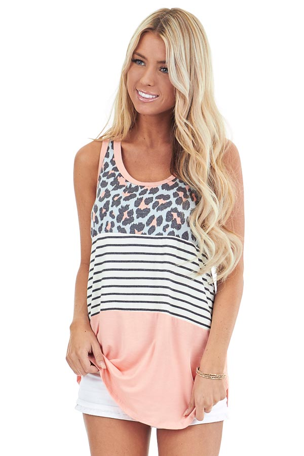 Coral Leopard Print and Striped Color Block Tank Top front close up