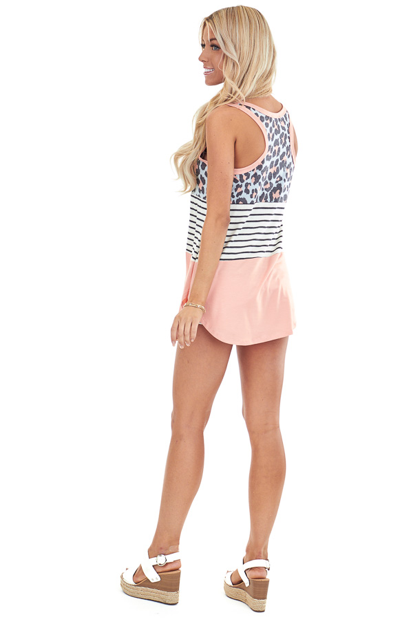 Coral Leopard Print and Striped Color Block Tank Top back full body