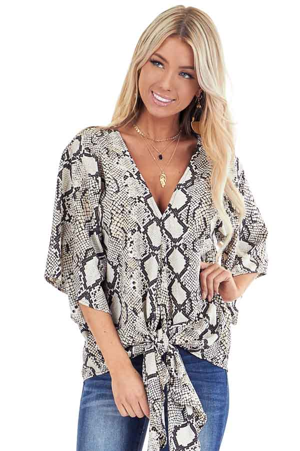 Beige Snakeskin Print Wide Sleeve V Neck Top with Front Tie front close up