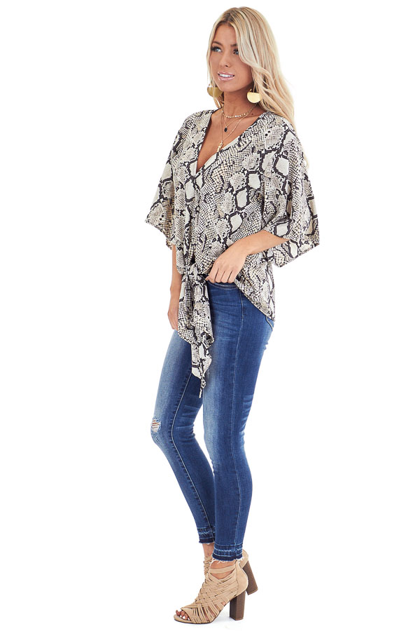 Beige Snakeskin Print Wide Sleeve V Neck Top with Front Tie side full body