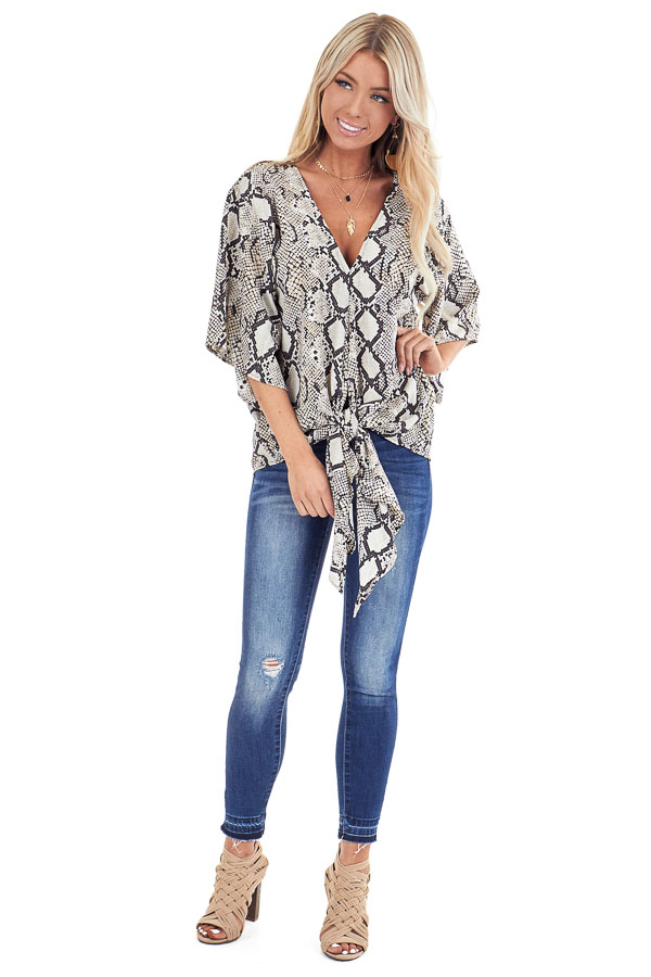 Beige Snakeskin Print Wide Sleeve V Neck Top with Front Tie front full body
