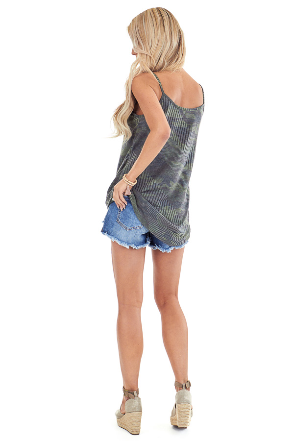 Camo Print Criss Cross Tank Top with Front Twist back full body