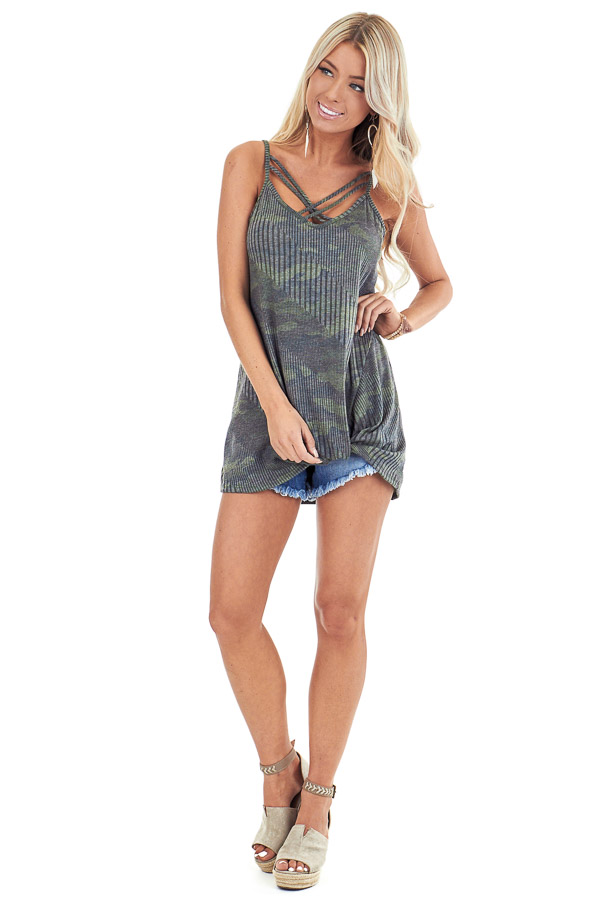 Camo Print Criss Cross Tank Top with Front Twist front full body
