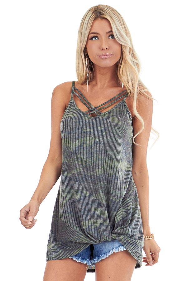 Camo Print Criss Cross Tank Top with Front Twist front close up
