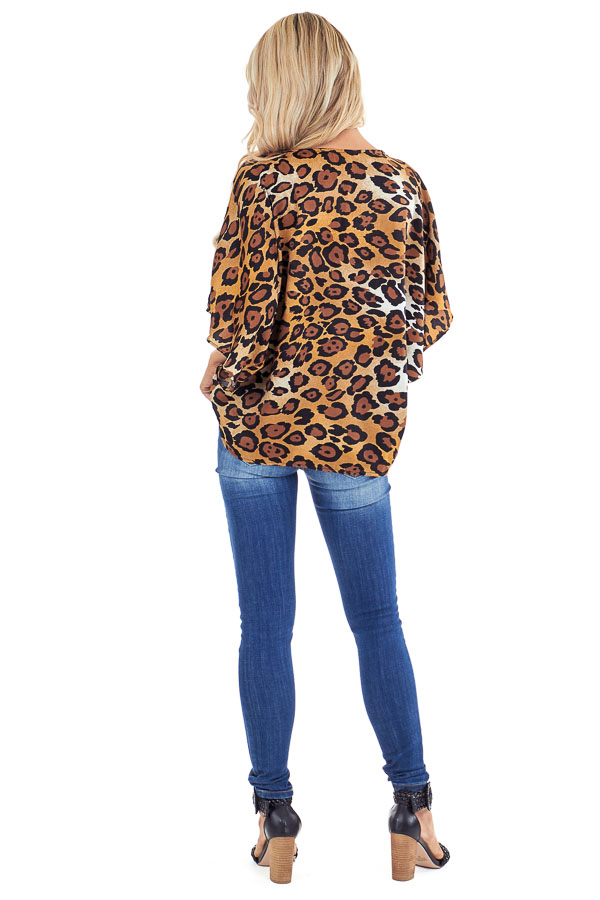 Caramel Leopard Print V Neck Short Sleeve Silk Dolman Top back full body