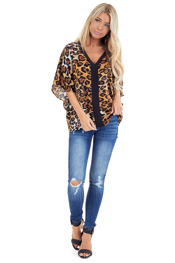 Caramel Leopard Print V Neck Short Sleeve Silk Dolman Top front full body