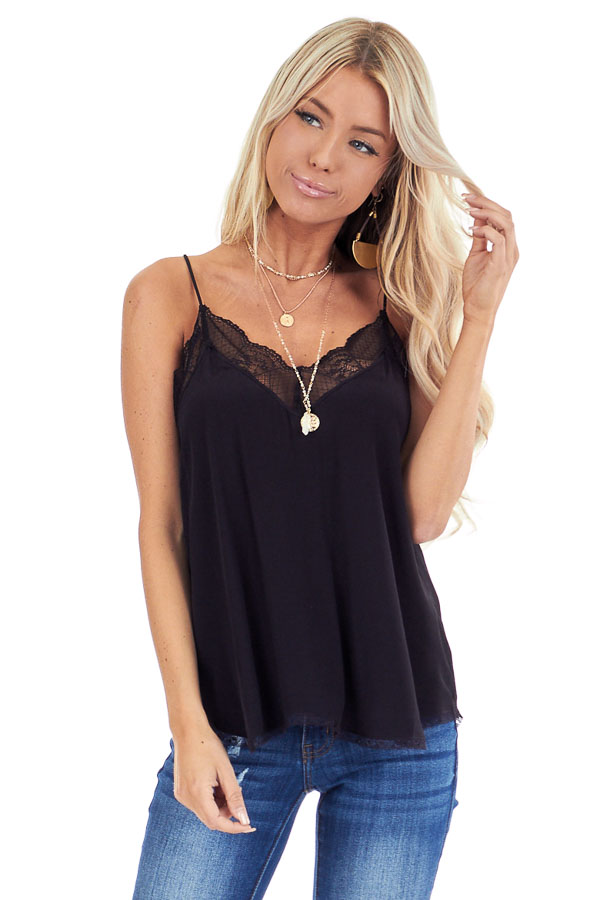 Jet Black Spaghetti Strap Camisole Top with Lace Details front close up