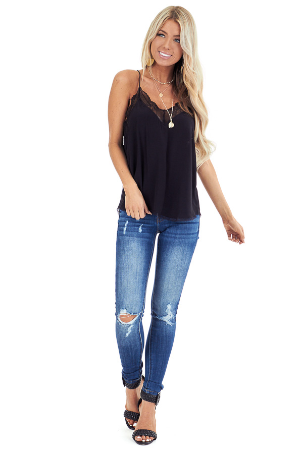 Jet Black Spaghetti Strap Camisole Top with Lace Details front full body