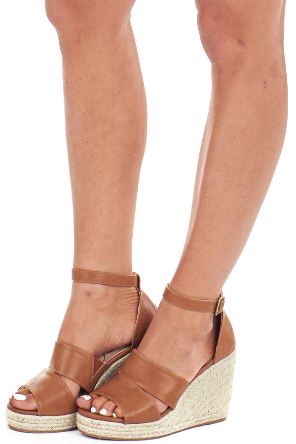 Pecan Faux Leather Espadrille Sandal Wedge with Ankle Strap front side view