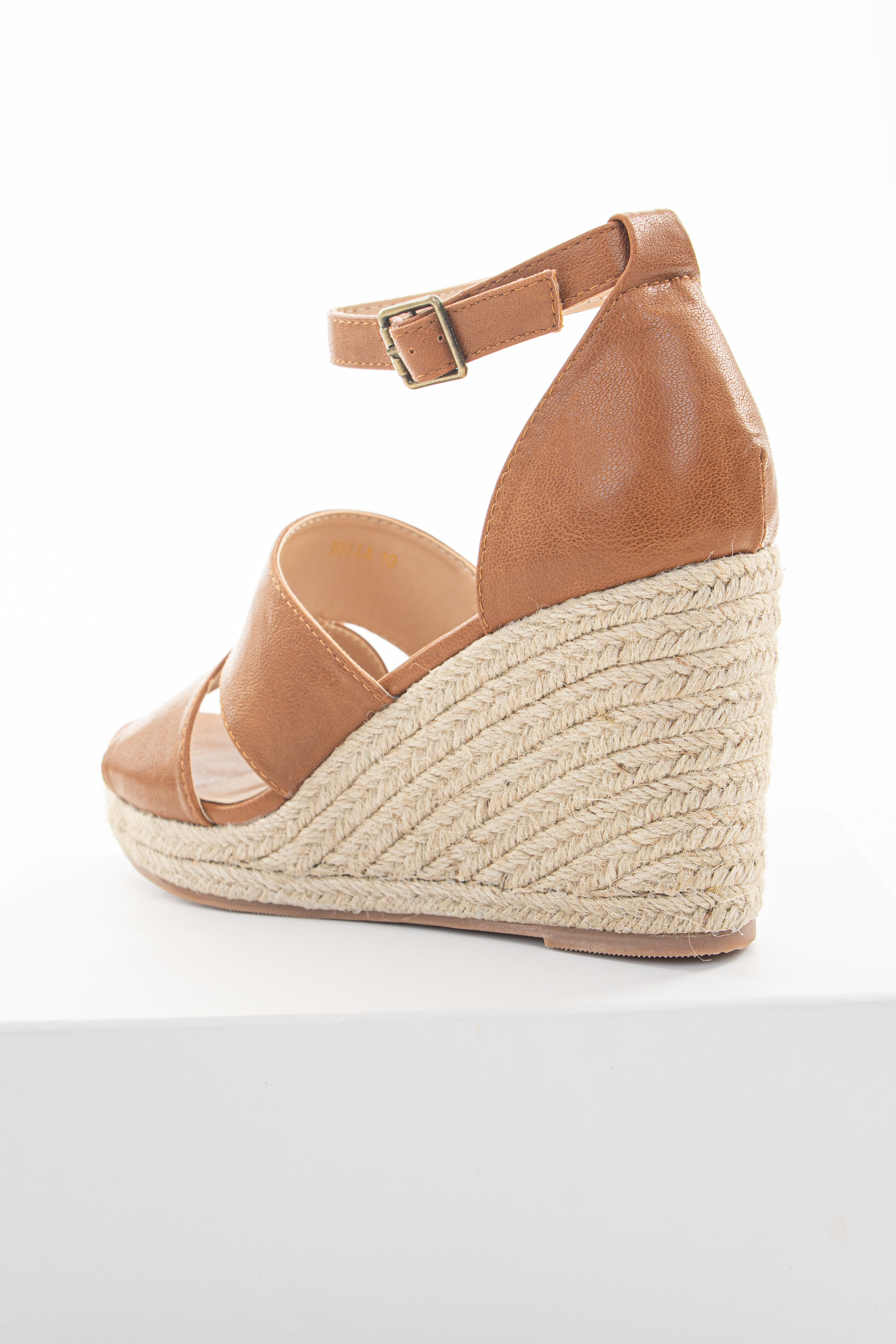 Pecan Faux Leather Espadrille Sandal Wedge with Ankle Strap