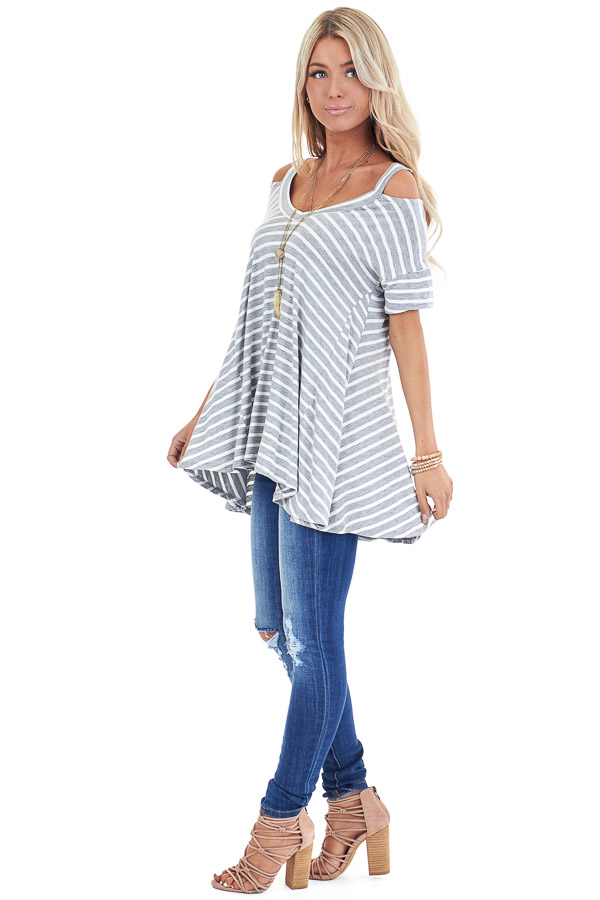 Heather Grey and Ivory Striped Cold Shoulder Swing Top side full body