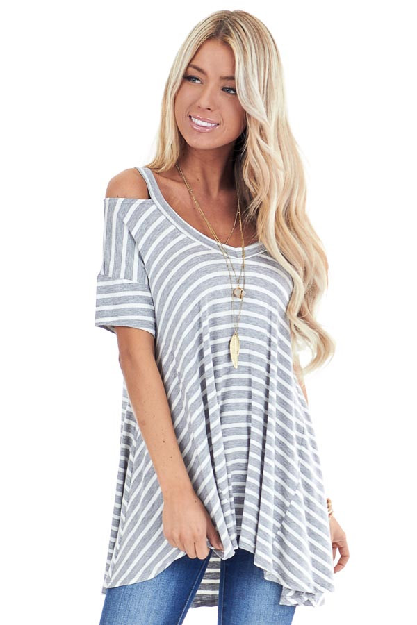 Heather Grey and Ivory Striped Cold Shoulder Swing Top front close up