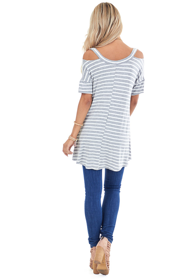 Heather Grey and Ivory Striped Cold Shoulder Swing Top back full body