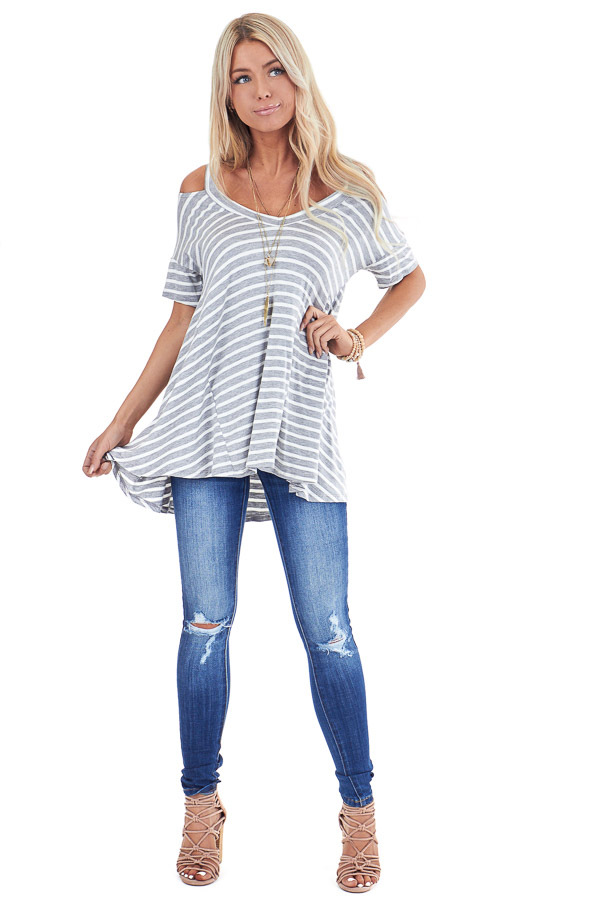 Heather Grey and Ivory Striped Cold Shoulder Swing Top front full body