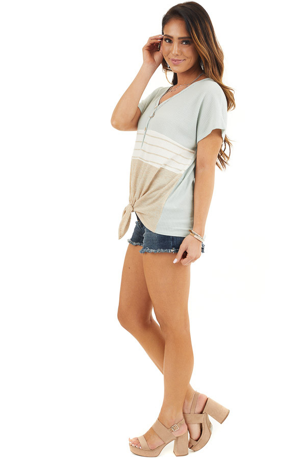 Sage Ivory and Oatmeal Waffle Knit Button Up Colorblock Top side full body