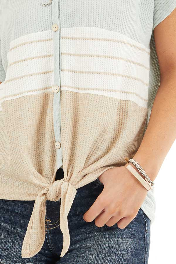 Sage Ivory and Oatmeal Waffle Knit Button Up Colorblock Top detail