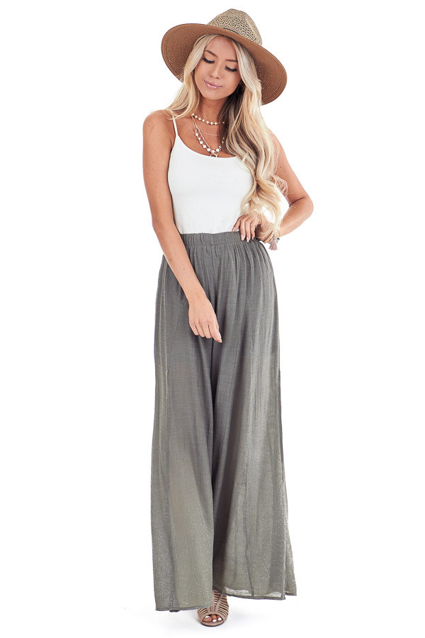 Olive Wide Leg Pants with High Side Slits front full body
