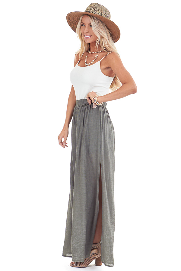 Olive Wide Leg Pants with High Side Slits side full body