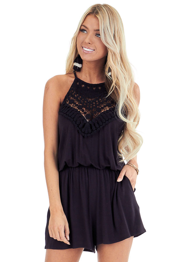 Jet Black Spaghetti Strap Romper with Crocheted Lace Detail front close up