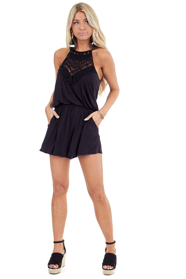 Jet Black Spaghetti Strap Romper with Crocheted Lace Detail front full body