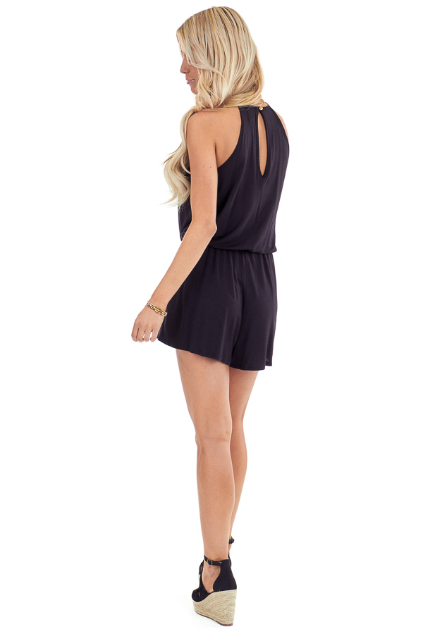 Jet Black Spaghetti Strap Romper with Crocheted Lace Detail back full body