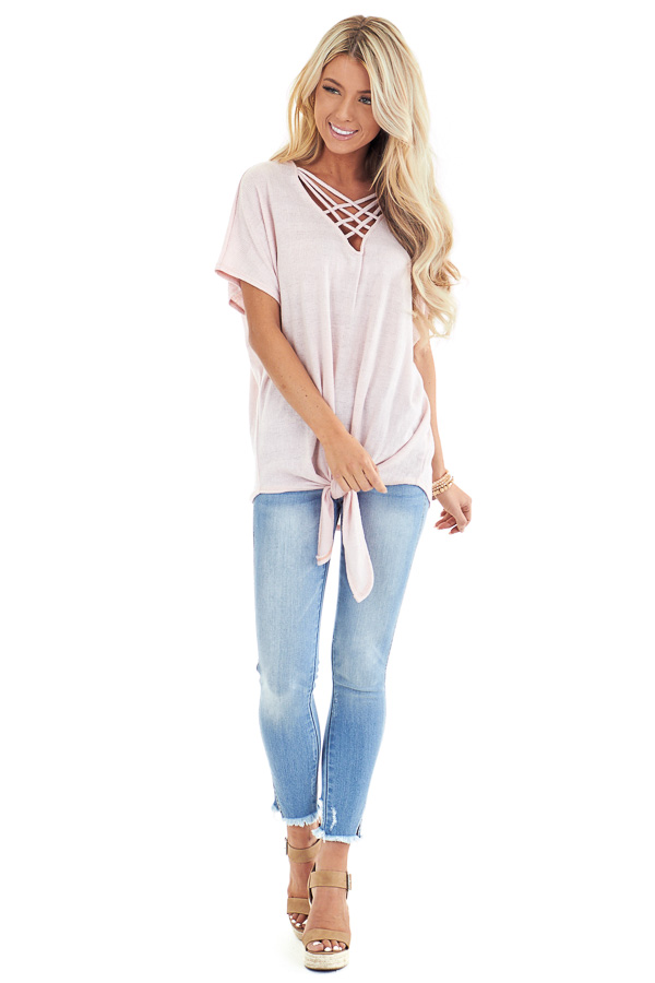Pastel Pink Short Sleeve Top with Caged Neckline front full body