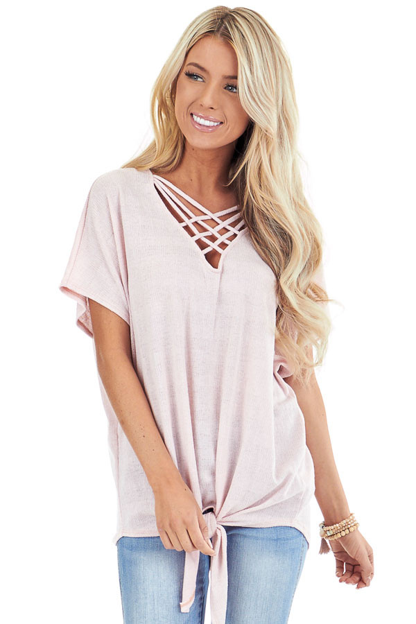 Pastel Pink Short Sleeve Top with Caged Neckline front close up