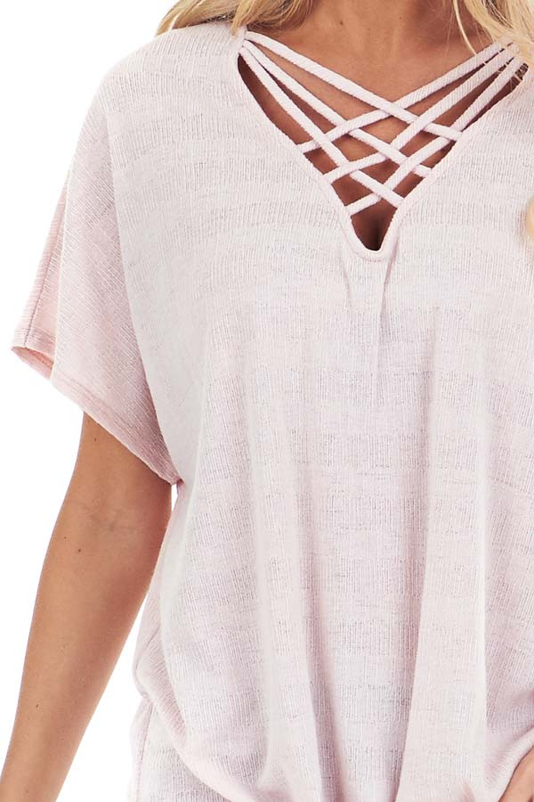 Pastel Pink Short Sleeve Top with Caged Neckline detail