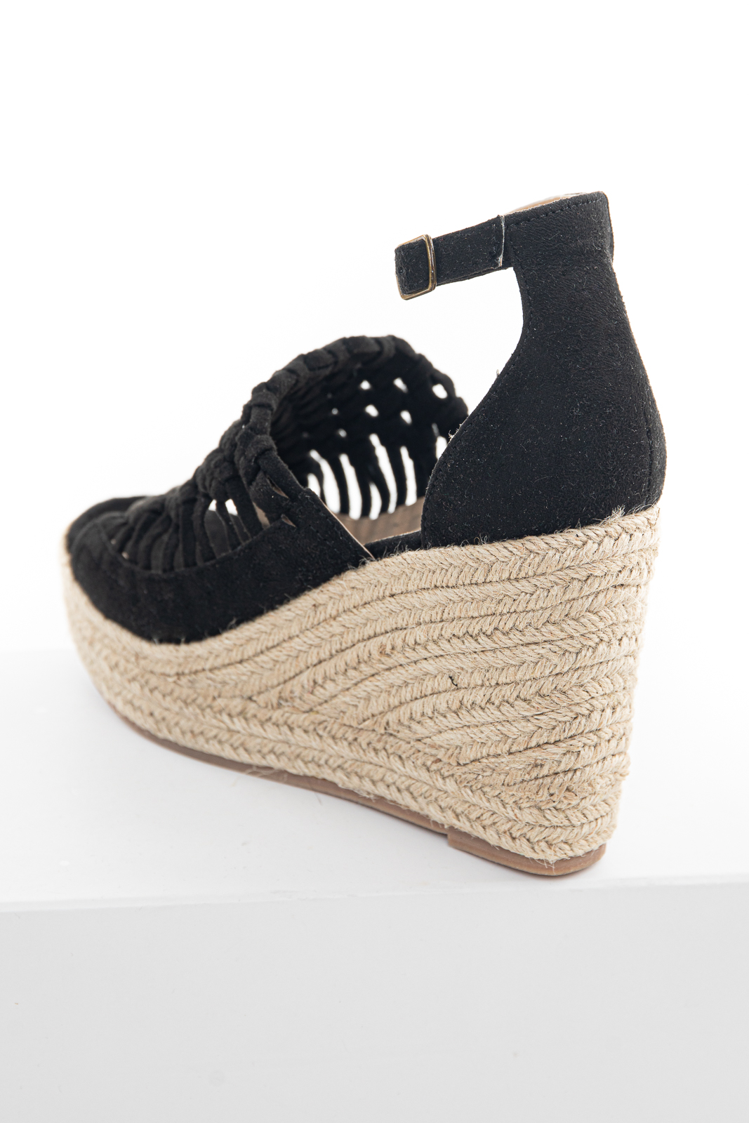Black Basket Woven Espadrille Wedge with Ankle Strap