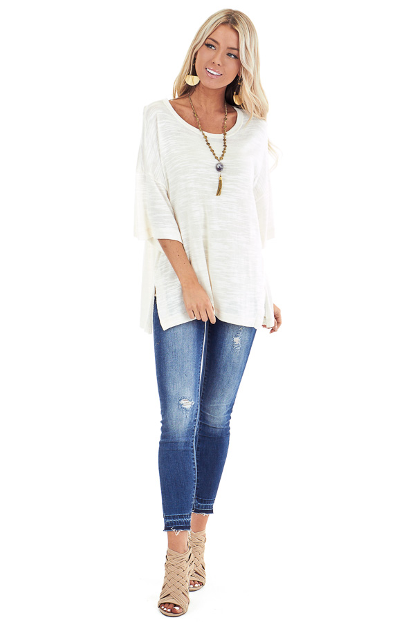 Cream Oversized Tunic Short Sleeve Top with Side Slits front full body