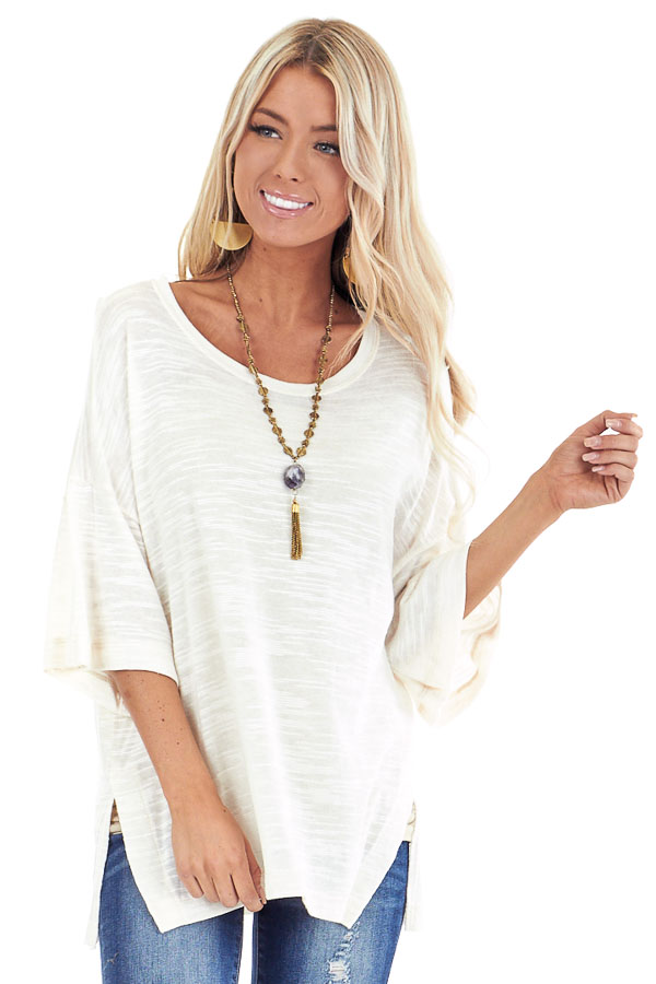 Cream Oversized Tunic Short Sleeve Top with Side Slits front close up