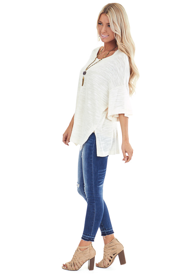 Cream Oversized Tunic Short Sleeve Top with Side Slits side full body
