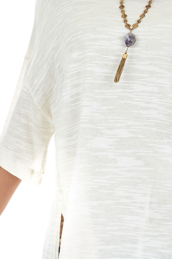 Cream Oversized Tunic Short Sleeve Top with Side Slits detail