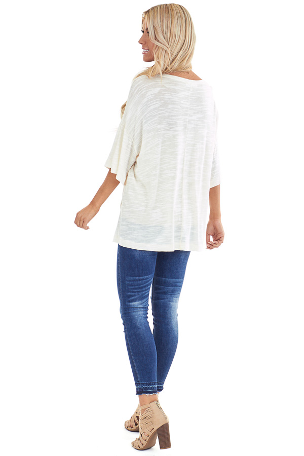 Cream Oversized Tunic Short Sleeve Top with Side Slits back full body