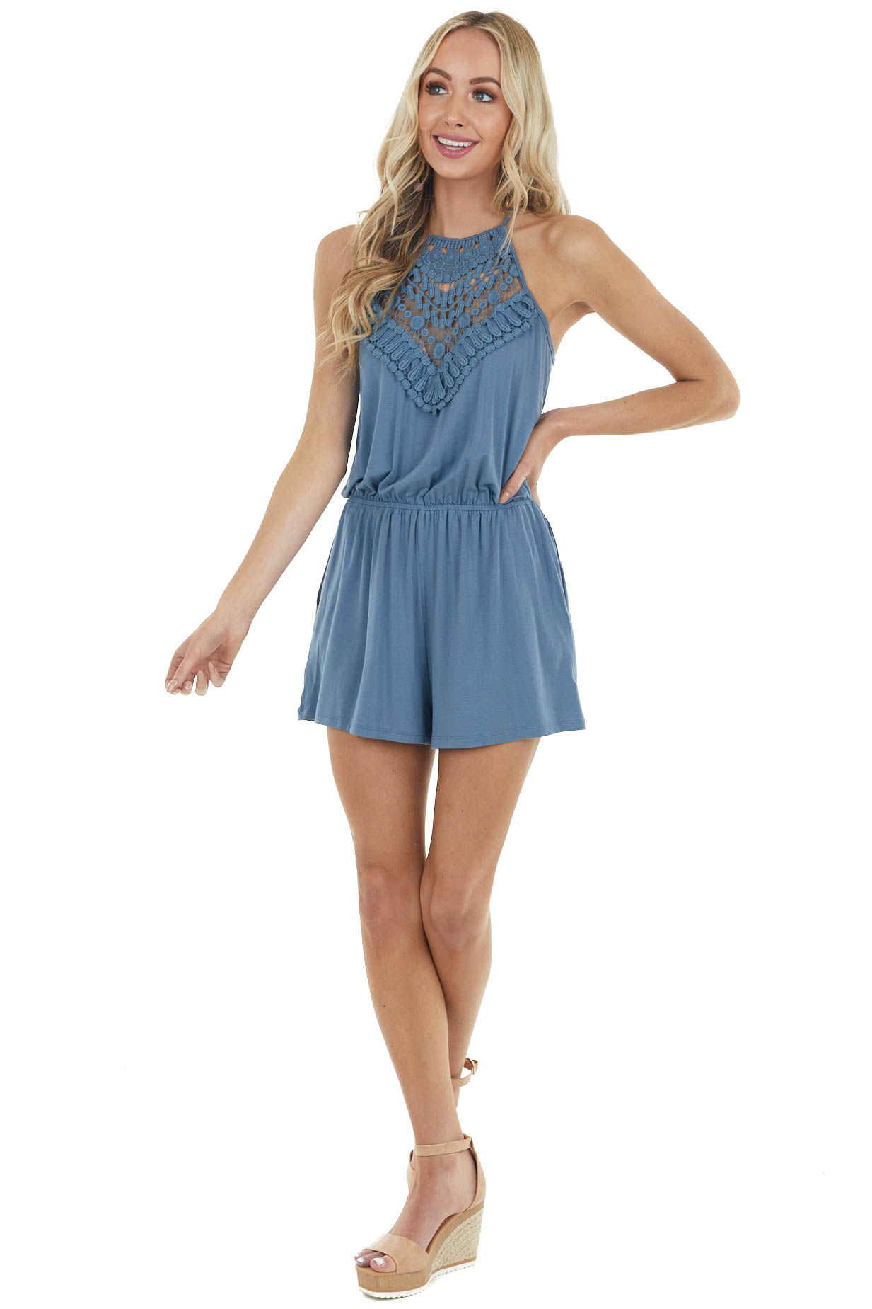 Slate Blue Spaghetti Strap Romper with Crocheted Lace Detail
