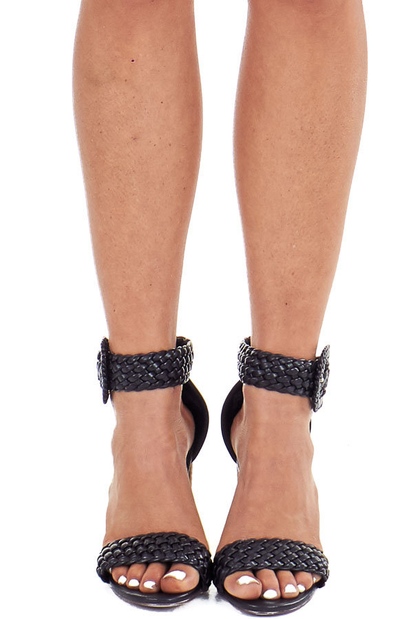 Obsidian Black Faux Leather Heels with Buckle Detail front view