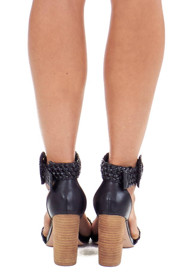 Obsidian Black Faux Leather Heels with Buckle Detail back view