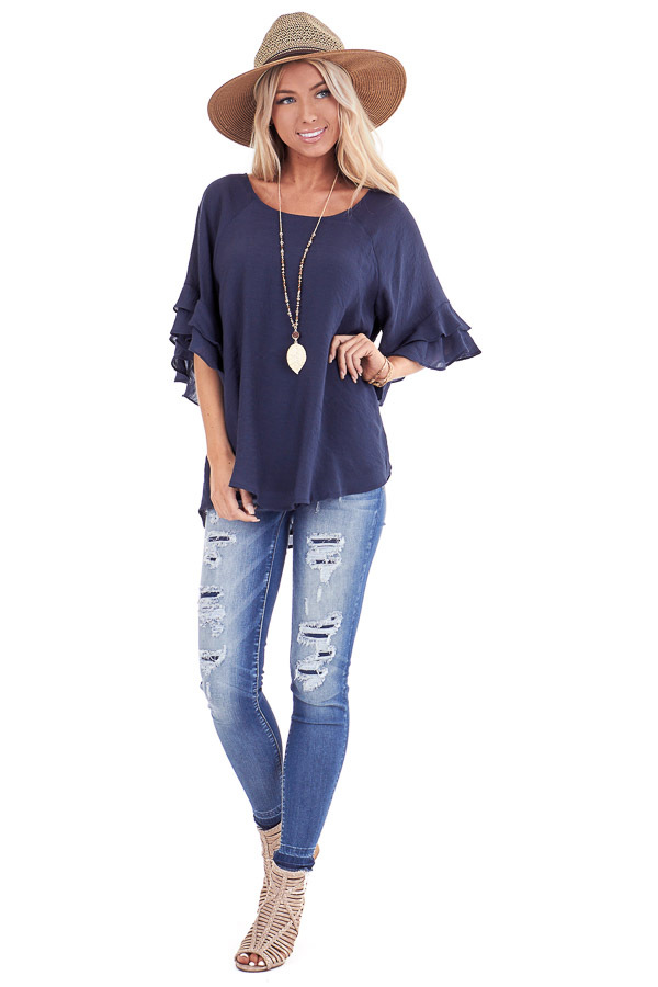 Deep Navy Short Sleeve Blouse with Ruffle Detail front full body