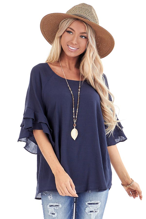Deep Navy Short Sleeve Blouse with Ruffle Detail front close up