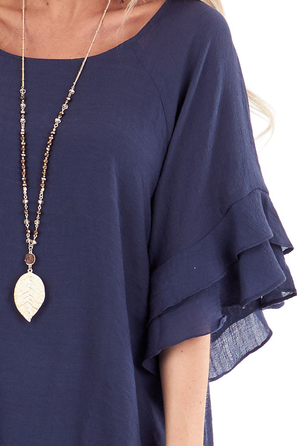 Deep Navy Short Sleeve Blouse with Ruffle Detail detail