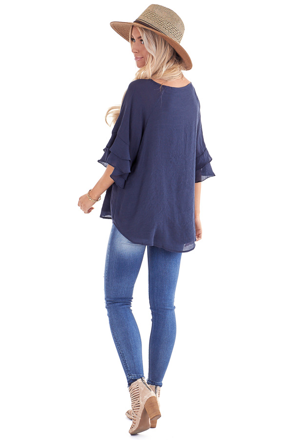 Deep Navy Short Sleeve Blouse with Ruffle Detail back full body