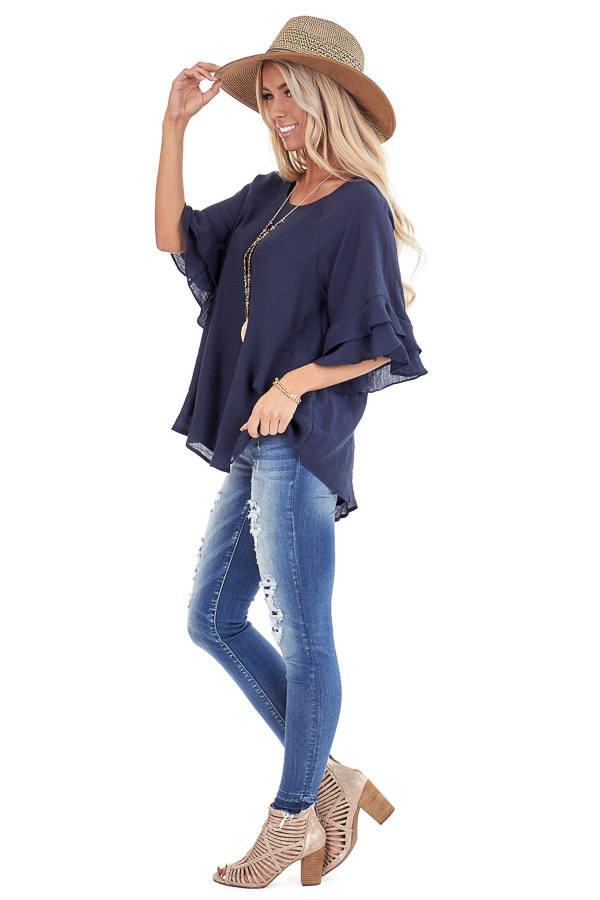 Deep Navy Short Sleeve Blouse with Ruffle Detail side full body
