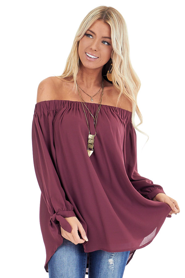 Burgundy Off the Shoulder Chiffon Blouse Top front close up