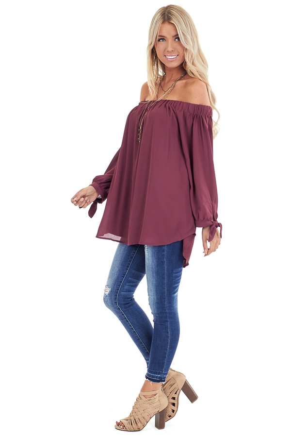 Burgundy Off the Shoulder Chiffon Blouse Top side full body