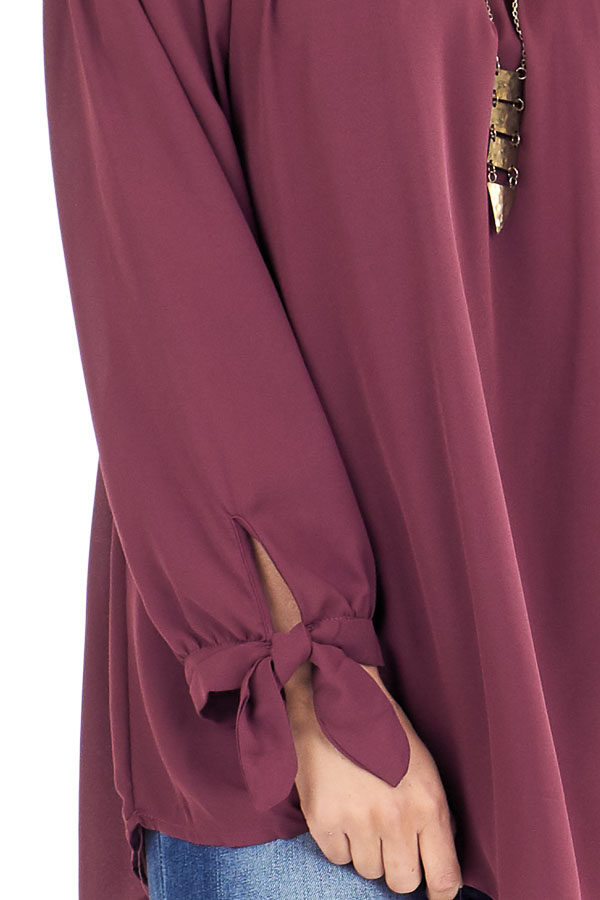 Burgundy Off the Shoulder Chiffon Blouse Top detail